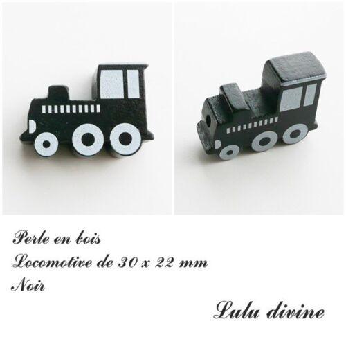 Noir Perle plate Train Perle en bois de 30 x 22 mm Locomotive