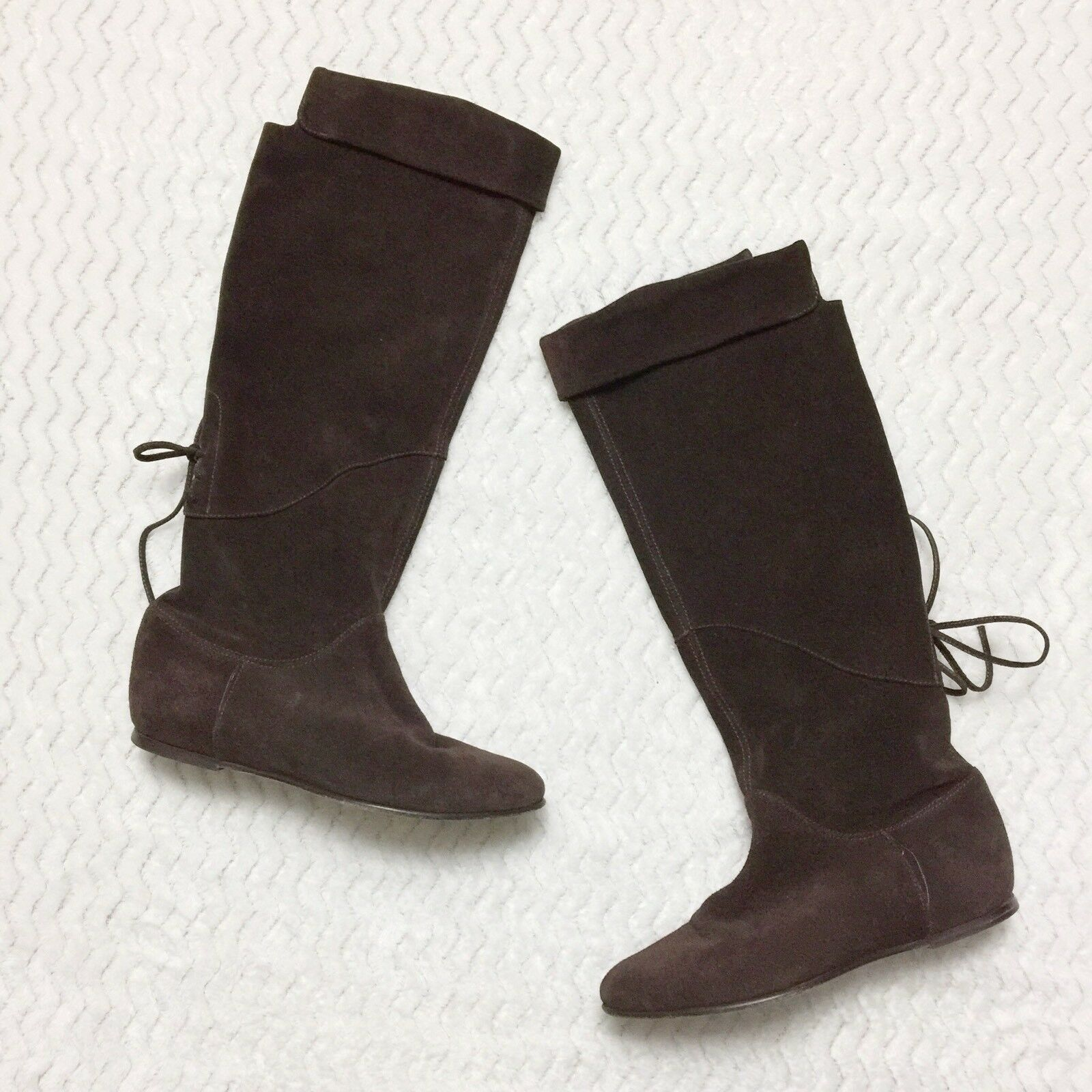Joie Heidi Suede Slouch Boots Cuffed Top Corset Lacing Brown Leather Size 6.5