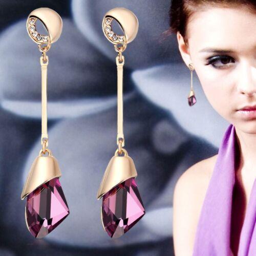 Lovely Elegant Water Drop Gold Tone Ladies Crystal Look Stud Earrings  5 Colours