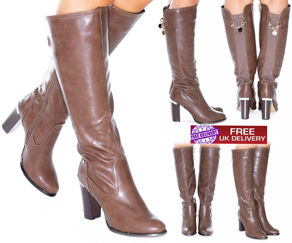 New Women's Ladies Long Boots Chunky High Heel Winter Stretchy Chain Detail Back