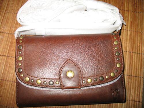NWT  FRYE  Melissa Leather Studded Western Crossbody Bag  COGNAC