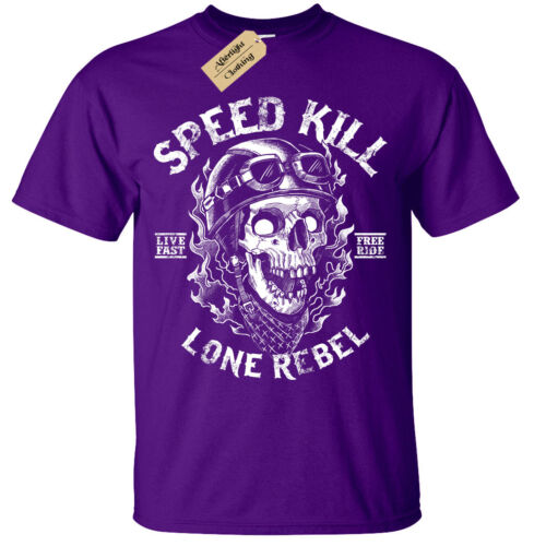 Kids Boys Girls Speed Kill T-Shirt Biker tee skull motorcycle rock bike rebel