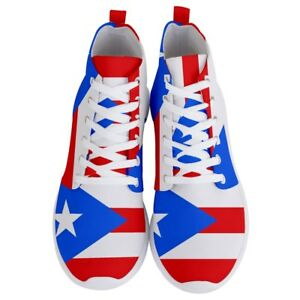 Puerto-Rico-Puerto-Rican-Flag-Mens-Lightweight-High-Top-Sneakers-Shoes-Free-Ship