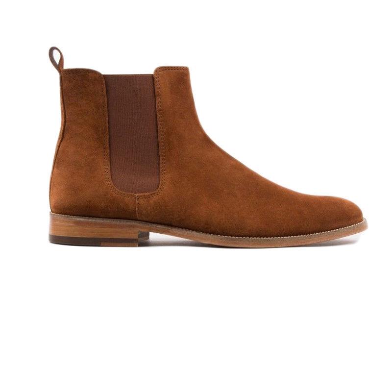 MEN NEU HANDMADE GENIUNE SUEDE LEATHER Schuhe BROWN CHELSEA ANKLE FORMAL BOOTS