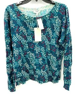 Joie-Womens-Blue-Floral-Crew-Neck-Cashmere-Blend-Sweater-Size-M-Medium