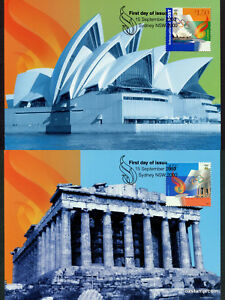 2000-Sydney-Athens-Joint-Issue-Maxi-Cards-Prepaid-Postcard-Maxicards-Stamp