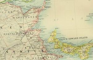 1895 ANTIQUE MAP DOMINION OF CANADA NOVA SCOTIA NEWFOUNDLAND NEW BRUNSWICK
