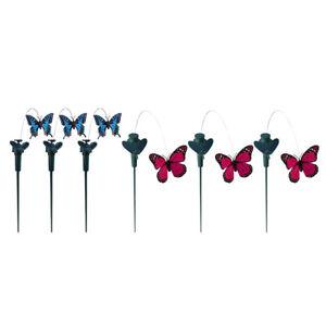 2 Stück Solar Flatternde Tanz Garten Stake Yard Vogel Schmetterling Decor #