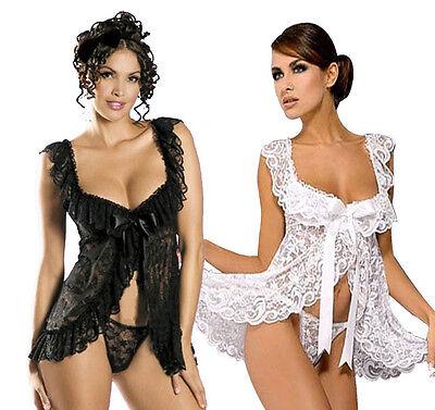 White Lingerie Babydoll Chemise Dress Sleepwear Plus S M L XL 2X 3X 4X 5X 6X
