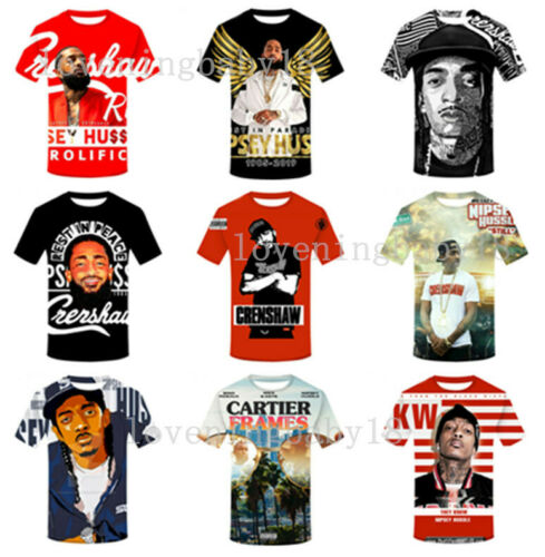 Hot Star Nipsey Hussle 3D Print Casual T-Shirt Mens Womens Short Sleeve Tee Tops