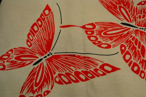 Japanese Cotton Fabric Red Butterflies on Beige base 1160r
