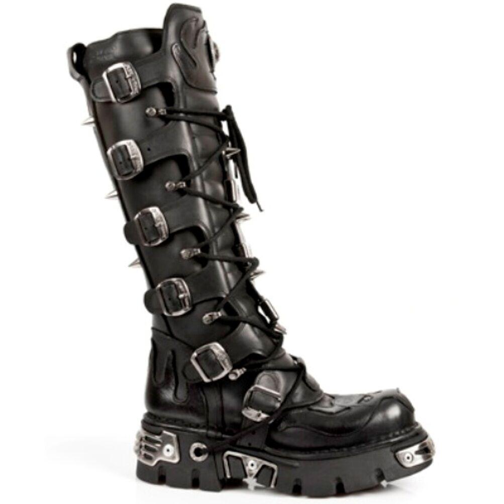 New Rock stivali Unisex Punk Gothic Stivali - Style 161 161 161 S1 Nero 1e6f1b