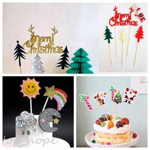 Cartoon Merry Christmas Cupcake Cake Topper Cake Flags Fonts Wedding Party Decor