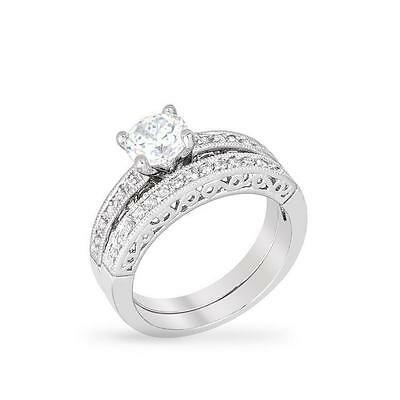 Jewelry & Watches 1.75 Cw Round Cut Cz Solitaire Vintage Bridal Engagement Wedding Ring Set Size 9