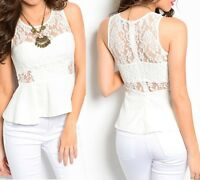 Off White Sweetheart Lined Lace Peplum Zip Back Sleeveless Blouse Top S M L