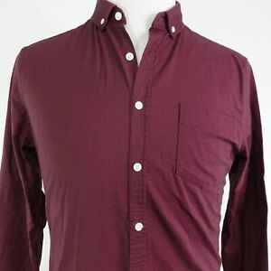 NWT-ASOS-SOLID-BURGUNDY-LONG-SLEEVE-BUTTON-DOWN-SHIRT-MENS-SIZE-M