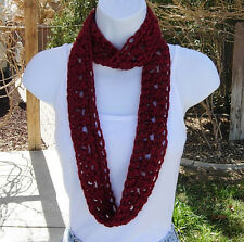 Women's Dark Solid Red SUMMER SCARF Infinity Loop Small Narrow Crochet Necklace