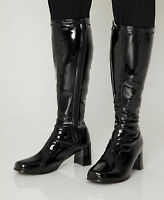 Knee High Boots - Black Fashion Boots - Size 4 Uk - Black Patent - Seconds