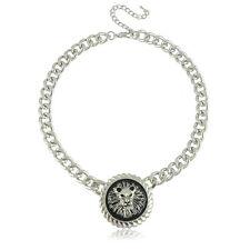 Punk Style Silver Chain & Black Lion Head Choker Necklace N207