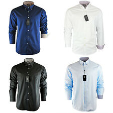 Men's Hugo Boss Plain Black Navy Sky White Shirt Long Sleeve Size S M L XL XXL