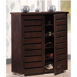 Mens shoes Cabinet Brown Wood Entryway Storage Women Best Kids 2 Door Furniture