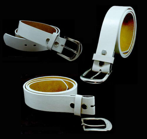 "Size L 37/""-41/"" Snap On White Leather Belt with Buckle"