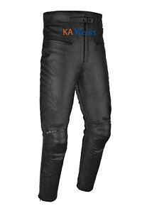 Real-Leather-Biker-Trouser-Motorbike-Motorcycle-Jeans-Mens-Pants-Armoured-Black