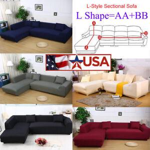 8 Colors Sofa Covers L Shape 2pcs