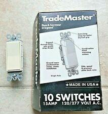 Box Of 10 Pass Amp Seymour Legrand Tm870 La Decorator Switch 1 Pol 15a 120v Almond