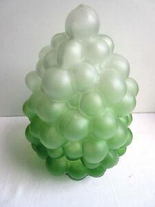 Tulipe-de-lampe-Art-Deco-pour-applique-ou-suspension-Gros-raisin-en-verre-vert