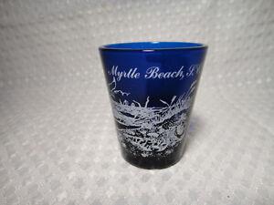 Myrtle-Beach-S-C-South-Carolina-Souvenir-Blue-Shot-Glass