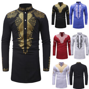 YYear Mens Casual Mid Length Long Sleeve African Print Dashiki Shirts