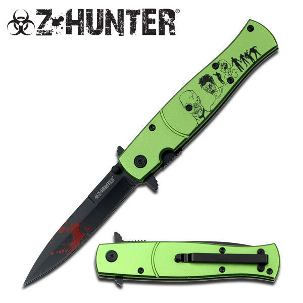 Z HUNTER ZB-092GZ SPRING ASSISTED KNIFE 4.75″ CLOSED Green Blood Splash