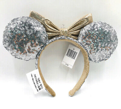 Disney Parks Minnie Mouse Ears Bow Castle Jewel Silver Headband Hat Sequin NEW
