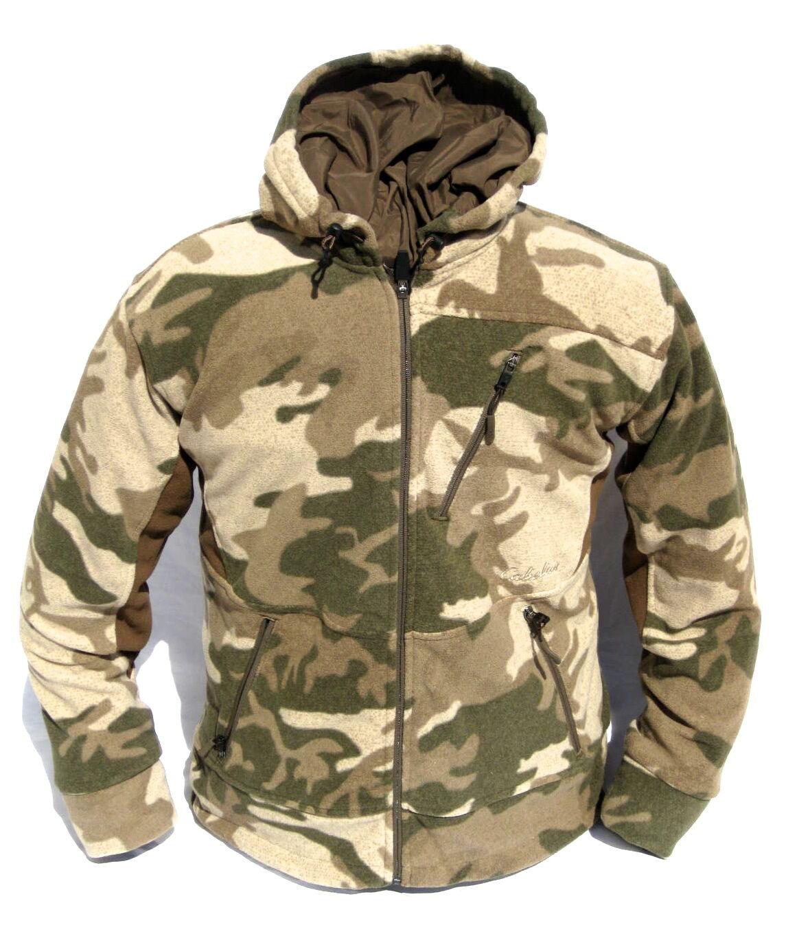 Cabela's Camo con capucha para hombre de Outfitter cortante del viento Impermeable Chaqueta de caza silencioso
