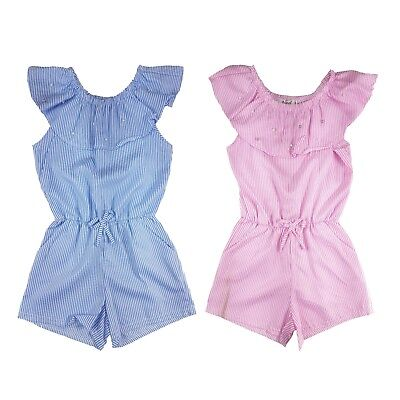 Kids Girls Striped Pearls Playsuit Jumpsuit Off  Shoulder Bardot Age 4-14 Years