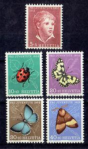 Schweiz-MiNr-575-579-Insekten-Pro-Juventute-1952