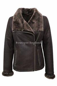 100 Fit Slim Jacket Nv40 Shearling Sheepskin Brown Leather Ladies nxP1qRA