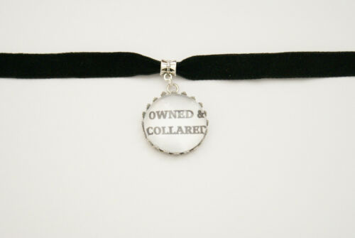Owned /& Collared Black Velvet Choker Necklace Fetish Bondage Collar