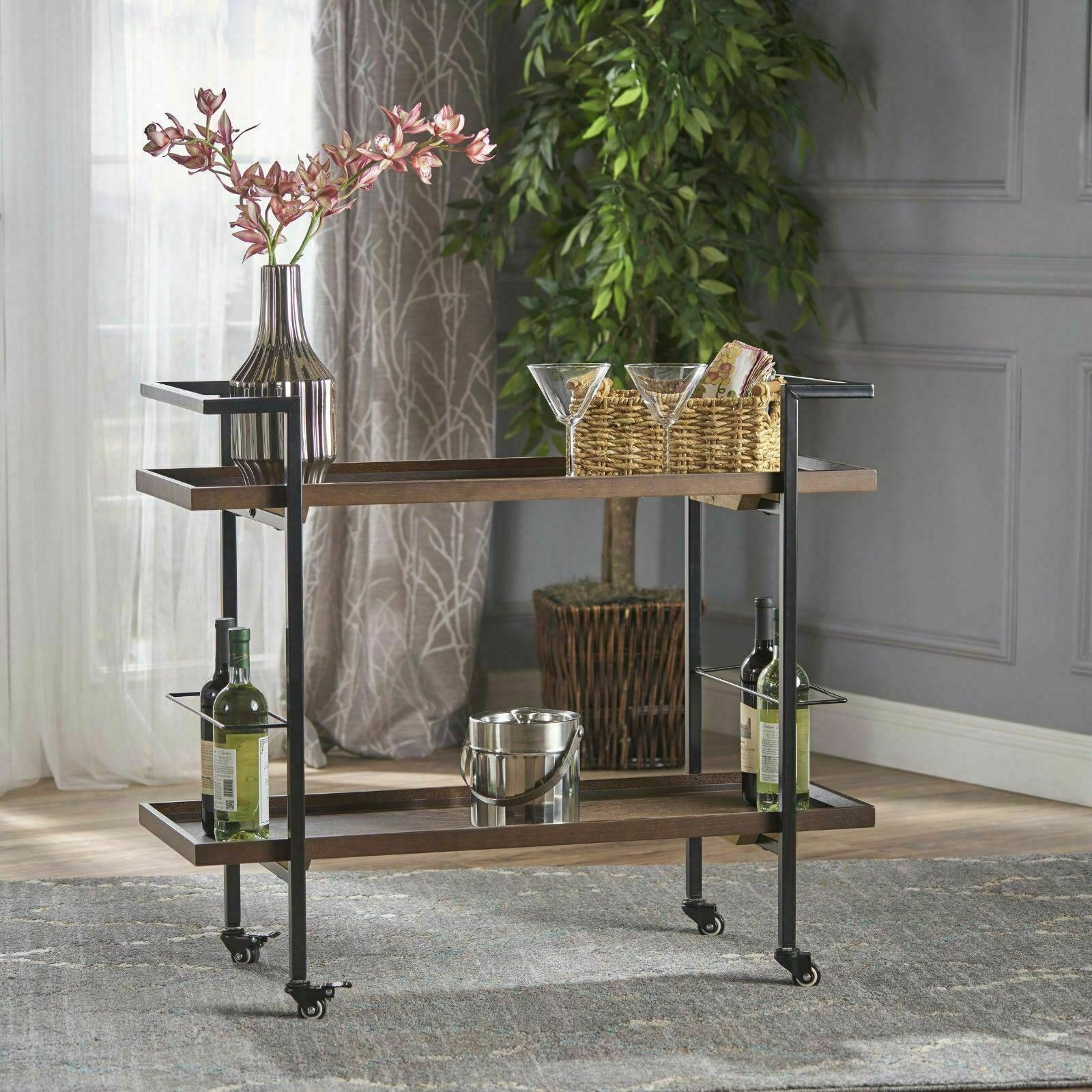 Gerard Modern Industrial Two Shelf Wood Finished Bar Cart With Rolling Casters For Sale Online