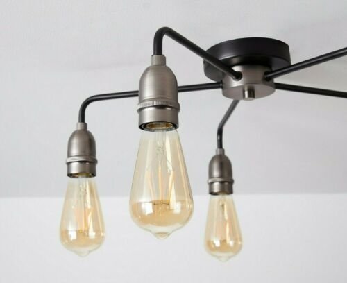 HARPER LIVING 5 Light Ceiling Light Black with Matt Silver E27//ES Cap Type