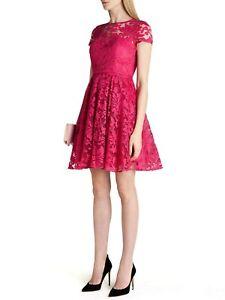 TED-BAKER-BNWT-Caree-Occasion-Dress-UK-10-2-Cerise-Pink-Skater-Floral-Lace