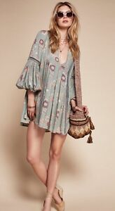 310c8684a33 Free People Just The Two Of Us Printed Floral Lace Inset Tunic Dress ...