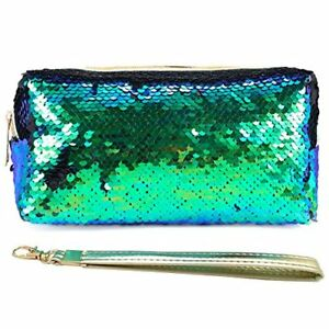 9f85f2f186 Details about Uniuooi Glitter Cosmetic Bag Mermaid Spiral Reversible  Sequins Portable Double C