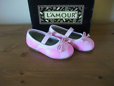 Chicas L 'amour M701 Rosa Cuero Lunares Bailarina Zapatos UK 4 EUR 20! nuevo!