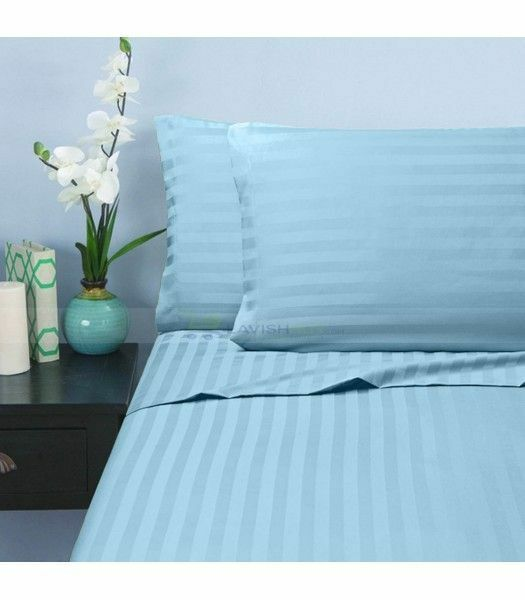 3 PC Fitted Set (All Size US) 1000 TC 100% Egyptian Cotton Light blueeeee Stripe
