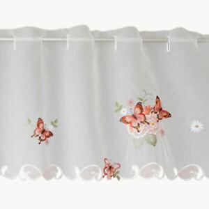 Bistro Gardine Bistrogardine Vorhang Fensterhänger 30  x 120 Schmetterling Voile
