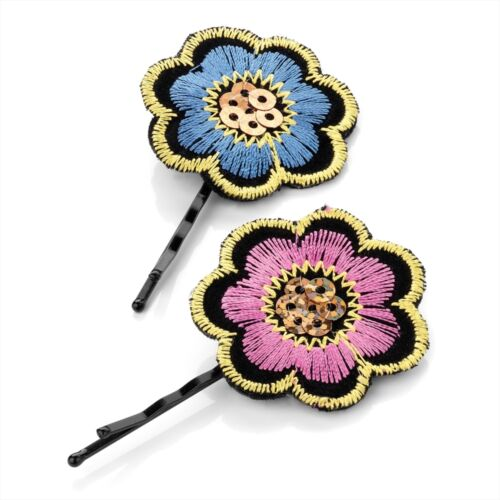 2pc EMBROIDERED 3.5cm FLOWER HAIR GRIPS SLIDE SEQUIN CENTRE PINK BLUE FESTIVAL