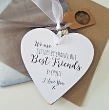 Wall Plaque Sisters By Chance Friends By Choice Wooden Sign Cream