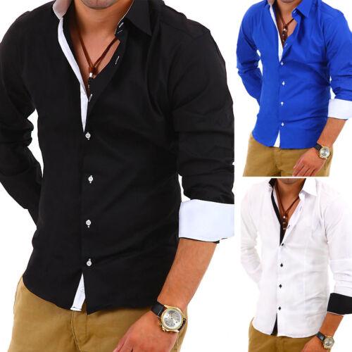 G.B.D Uomo Camicia Slim Fit Contrasto Polo Style Nero//Blu//Bianco//Rosso Nuovo